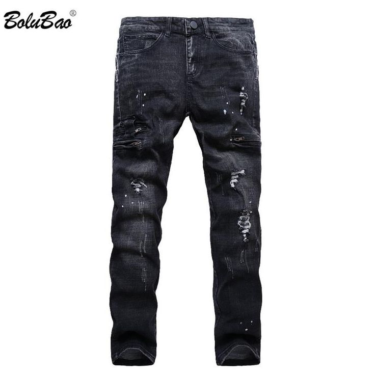 New Fashion Style Men Biker Jeans Straight Slim Fit Man Denim Pants Distressed B...