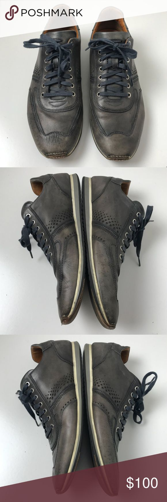 Magnanni | gray leather Pueblo sneaker shoes 12 Magnanni Pueblo style leather sn...