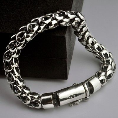 Men's Sterling Silver Dragon Scale Bracelet