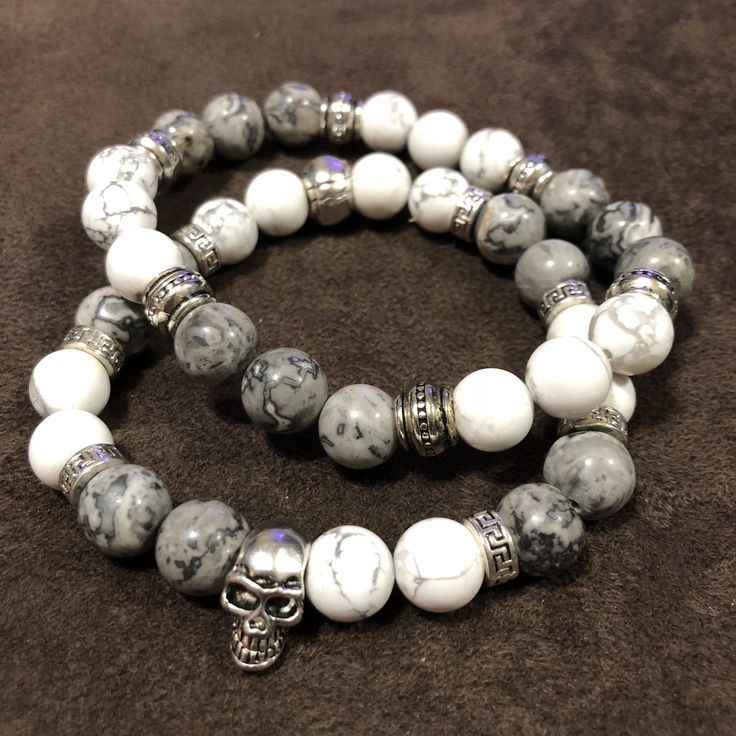 Men's Howlite and Map Stone Pair with Skull Accent #metaphysical #meditation #es...