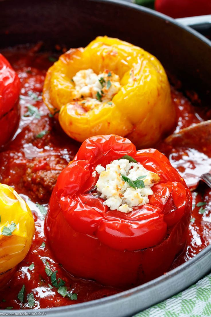 Stuffed peppers mediterranean | The simple recipe is a minced meat cl ...