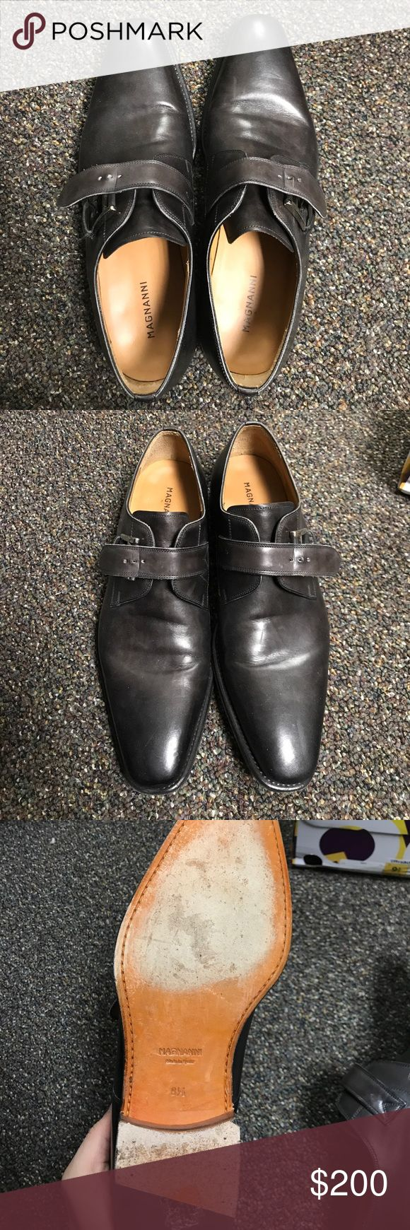 Magnanni Marco Grey Leather Monk Strap Previously worn in good condition Size 8....