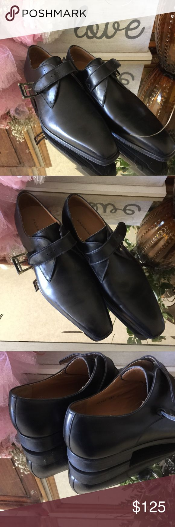 Soft leather men's shoes Black Italian  soft leather with buckle strap.  Point...