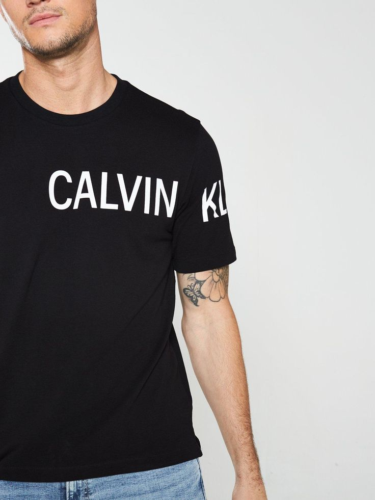 Calvin Klein Jeans Calvin Klein Jeans Sleeve Institutional Logo T-Shirt, Black, ...