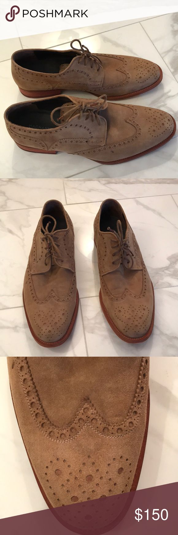 Magnanni Men's Wing-tip Shoes Suede leather upper and leather sole. Gently use...