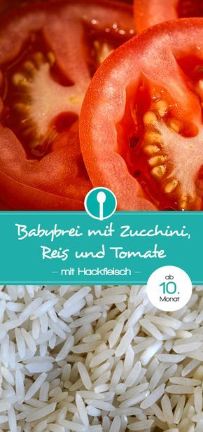 Baby porridge recipe with zucchini, rice and tomato. Lunch with meat for baby ...