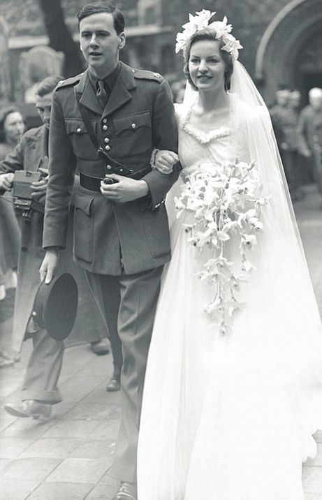 1940s Photo of a 1940s Wedding. British society girls also married in wartime, i...