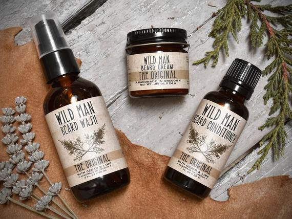 Mens Grooming Kit - Wild Man Beard Gift Set - Three Pack - Beard Oil Conditioner, Beard Wash and Bea