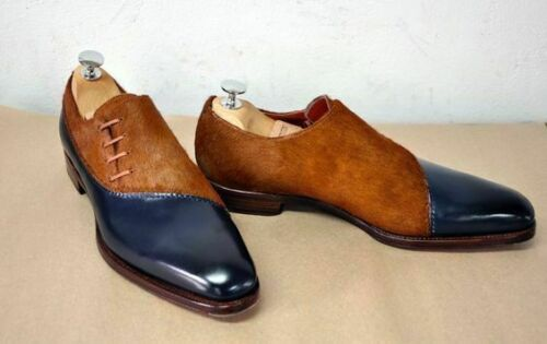 Details about Handmade Formal brown Blue leather oxford two tone shoes for man