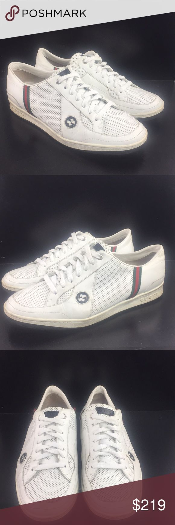 Gucci Mens White Sneakers Low Top  Size 8 PreOwned Great Condition. Some mino #s...