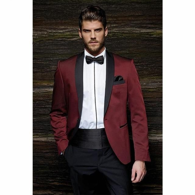 Fashion One Button Burgundy Groom Tuxedos Groom Men's Wedding Prom Suits dre...