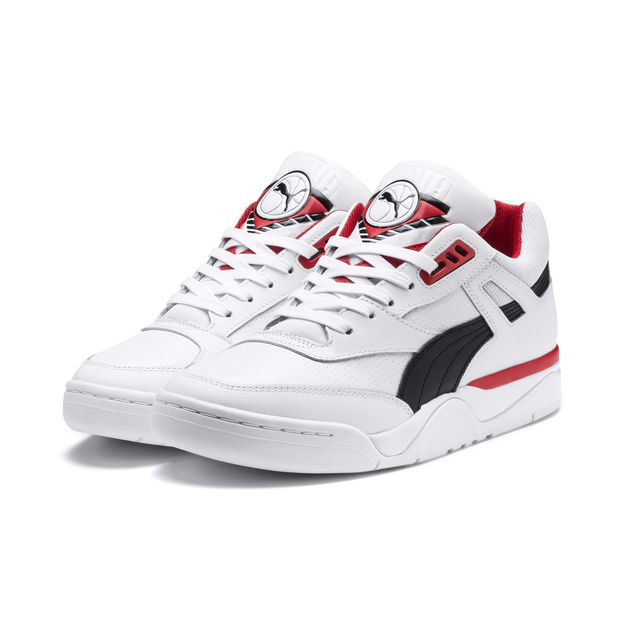 PUMA Palace Guard Men's Basketball Trainers in White/Black/Red size 10.5