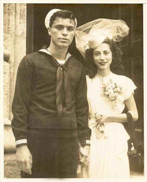 A 1940s bride & her sailor groom. So perfect for my novel! LOVE this pic!  #1940...