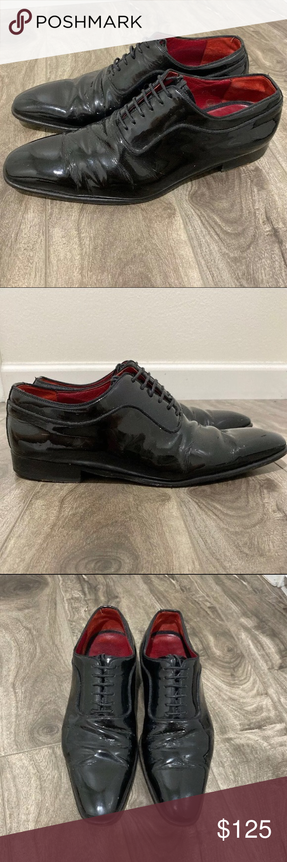 Magnanni Mens Dante Oxford  black leather shoes Shows some signs of wear but ove...