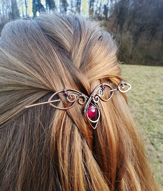 Metal hair slide - Agate hair slide Gift for her - Copper hair pin Rustic barrette Shawl pin - Gift for Women Accessories for hair
