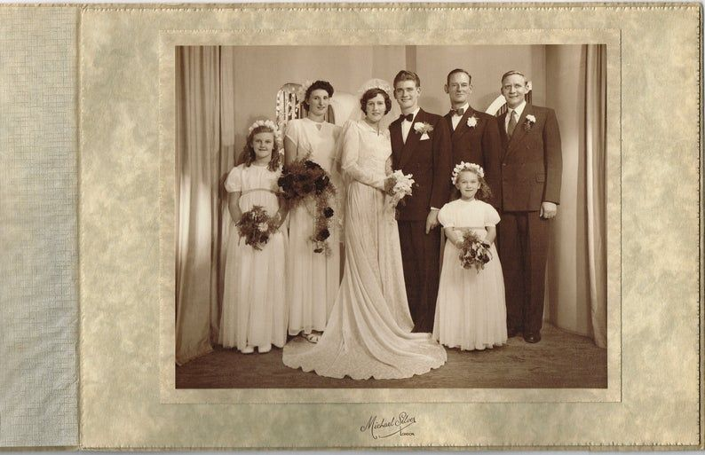 1940s Photo of a 1940s Wedding Party/ 1940s Family Photo/ Vintage Wedding/ Bride...