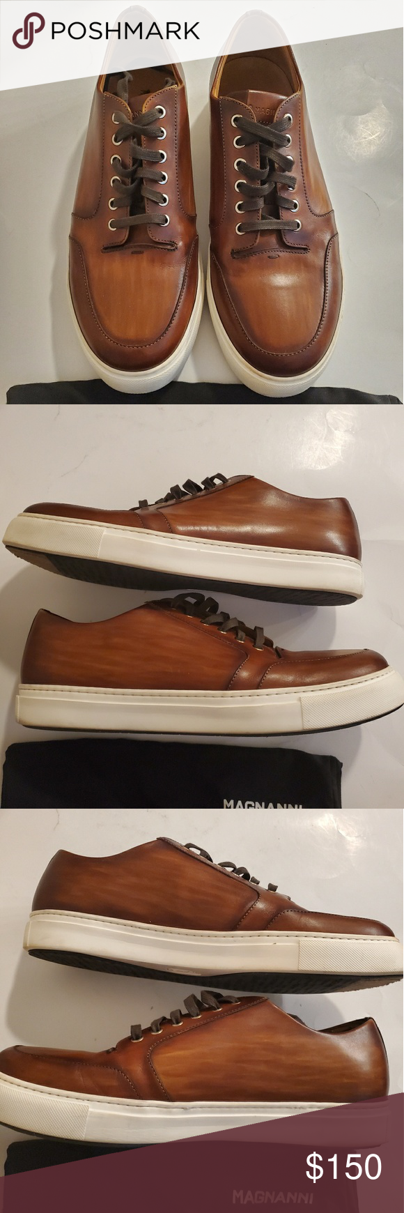 MAGNANNI leather wood grain sneakers size 13 MAGNANNI leather wood grain sneaker...