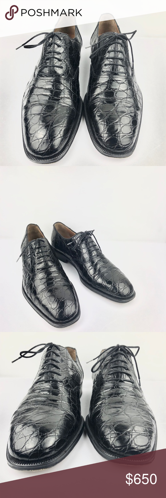 MAGNANNI Crocodile Oxford Shoes Size 10.5 D EU 44 MAGNANNI Crocodile Oxford Cap ...