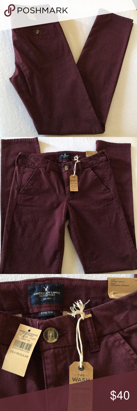 American Eagle Burgundy Pants American Eagle burgandy pants, skinny, low rise, s...