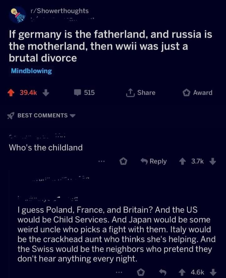 If Germany is the fatherland and Russia the mother land, than WW2 was a brutal d...