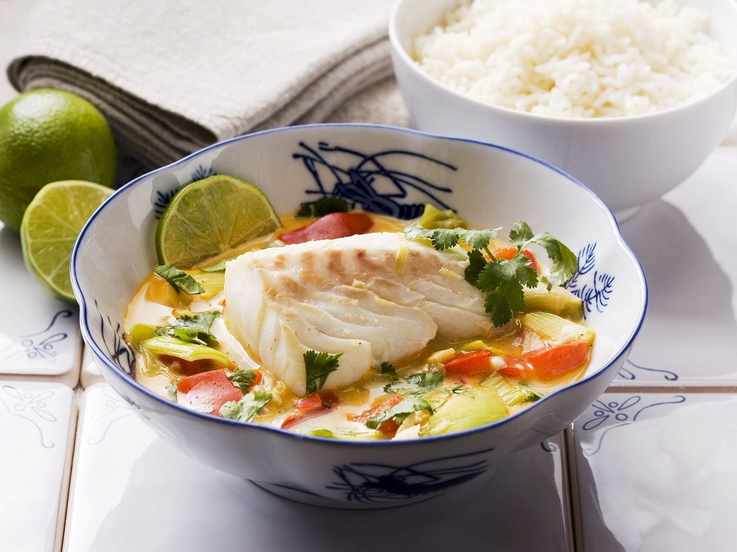Cod with coconut milk and vegetables