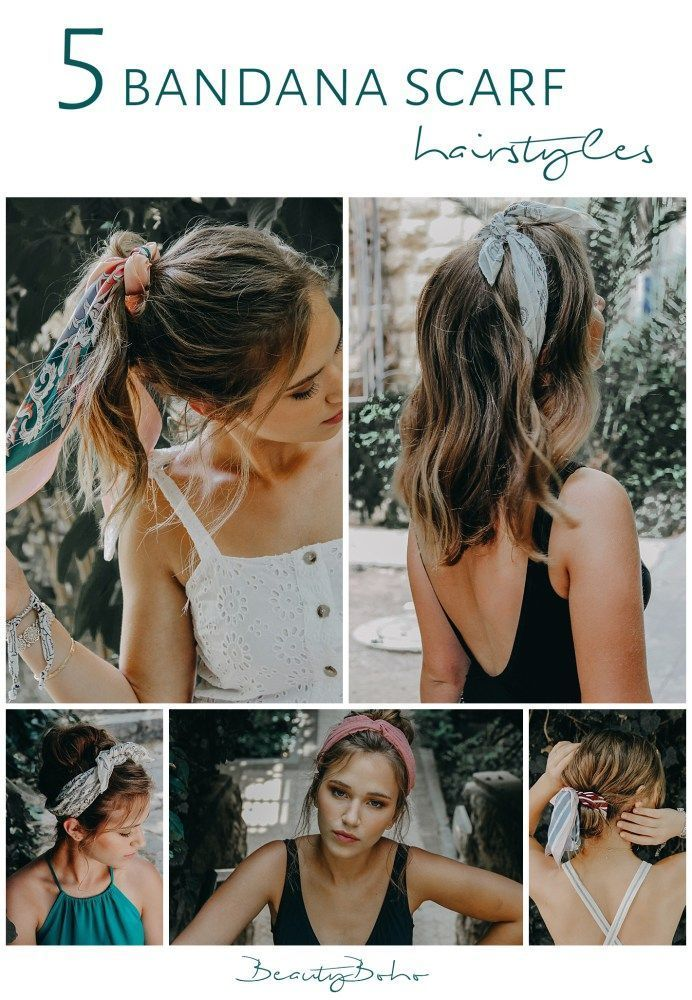 25 +> how to use Bandana. Kerchief scarf hairstyle. Disheveled hair. short hair. how to add