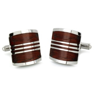 Stainless Steel & Red wood Inlay Cuff Links | Mens Suits 2015