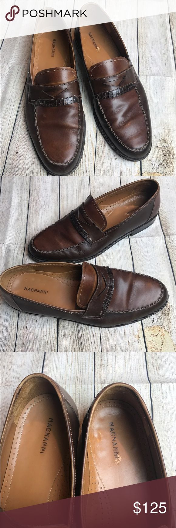 Magnanni lizard penny loafer dress shoe size 11 Excellent condition! Please see ...
