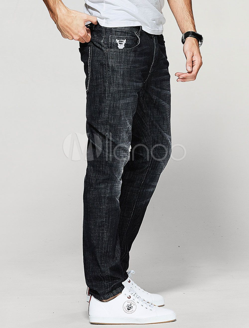 Men's Black Jeans Wash Distressed Straight Leg Casual Denim Pants