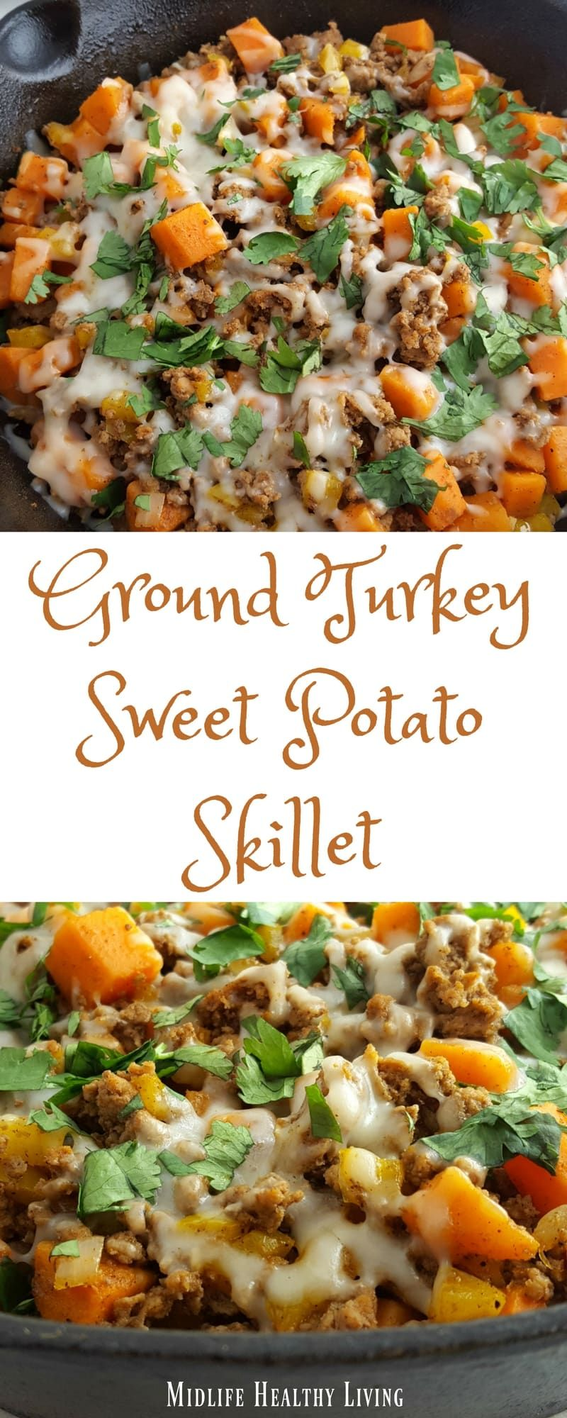 This ground turkey sweet potato skillet recipe is simple, easy, delicious, and W...