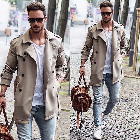 light beige trench coat, white T-shirt with a round neck, light blue tight jeans, white low sneak