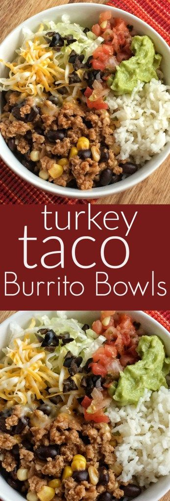 Turkey Taco Burrito Bowls are a family favorite meal! Let everyone build their o...