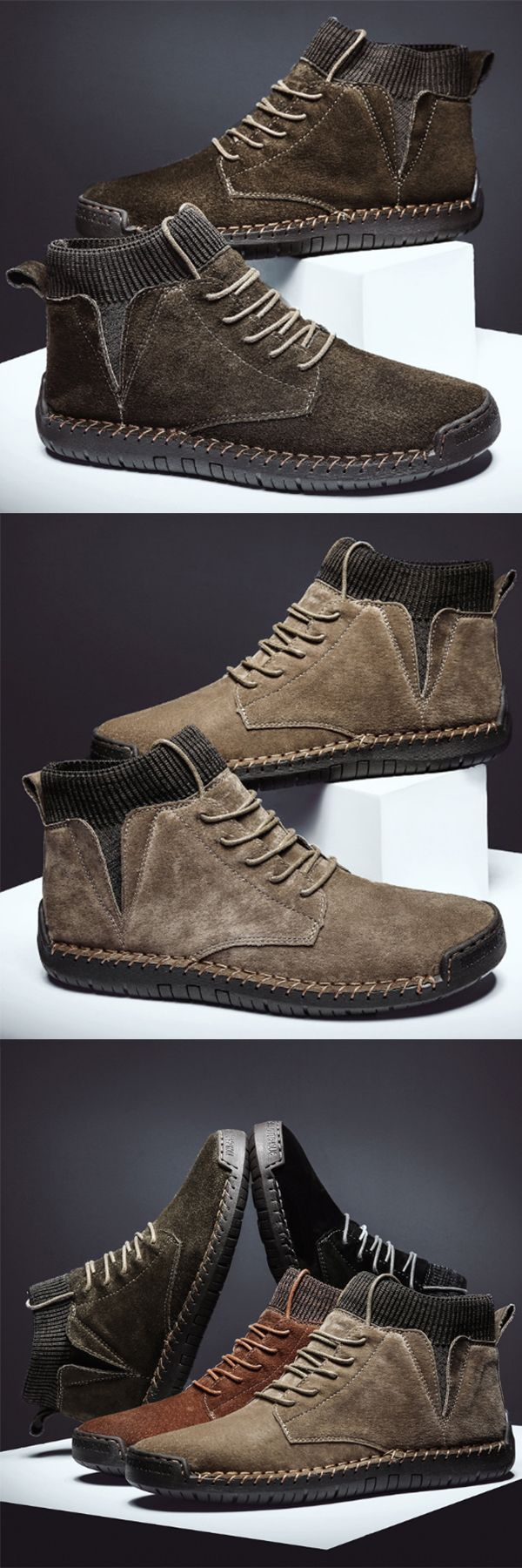 Men Suede Fabric Splicing Hand Stitching Non Slip Casual Boots#Boots#Casual #Thanksgiving