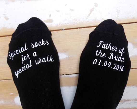Personalized wedding socks - father of the bride - special walk socks - wedding gift - keepsake - gift from bride - personalized groom socks