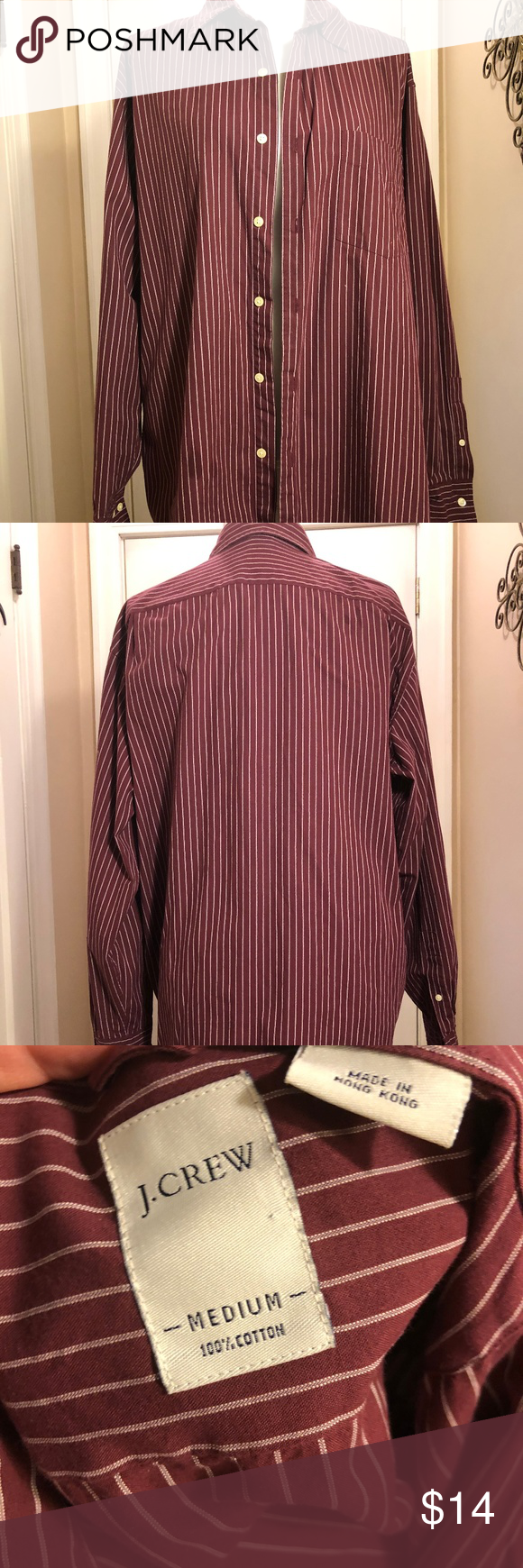 J. CREW BUTTON DOWN - M Mens J. Crew burgandy and white striped button down Size...