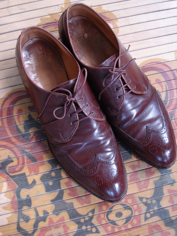 Vintage 1940s Mens Shoes Wing Tip Oxford Edwin Clapp Mens US8