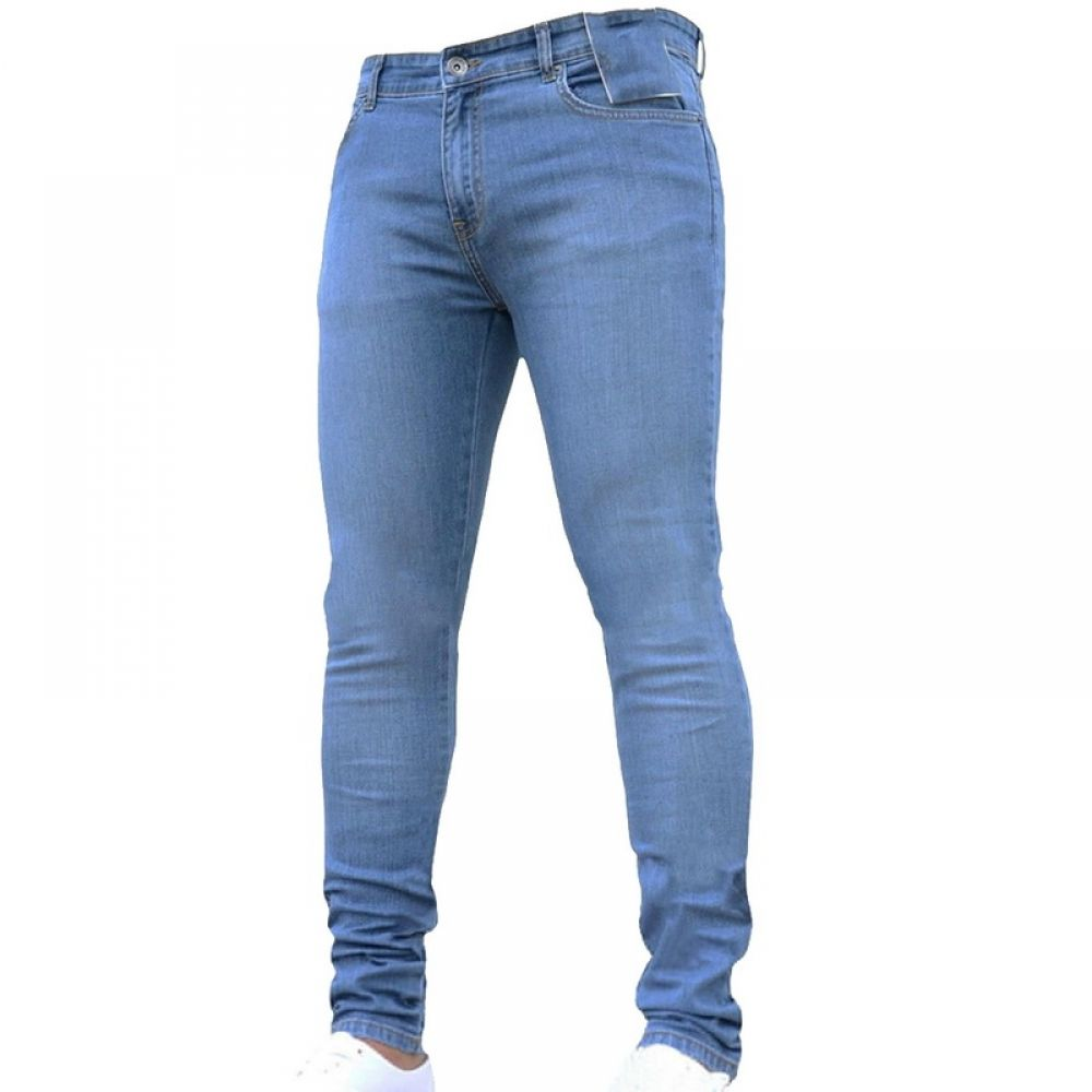 New Fashion Men Stretch Skinny Jeans Streetwear Casual Tight Solid Trousers Male Brand Basic Pants Plus Size 3XL