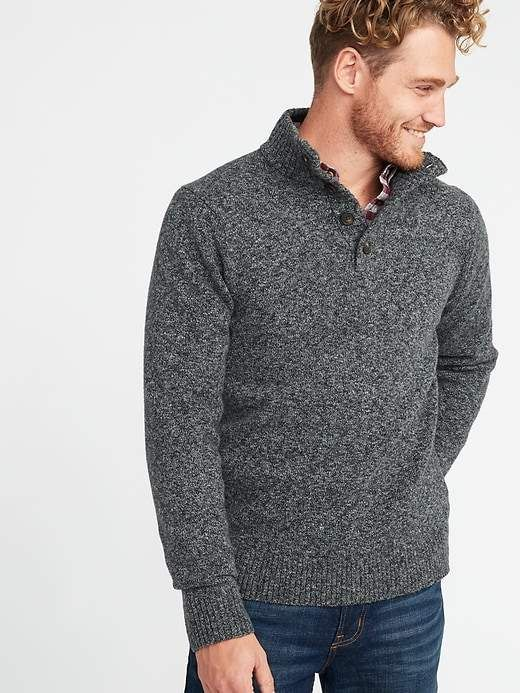 Button Mock-Neck Sweater for Men