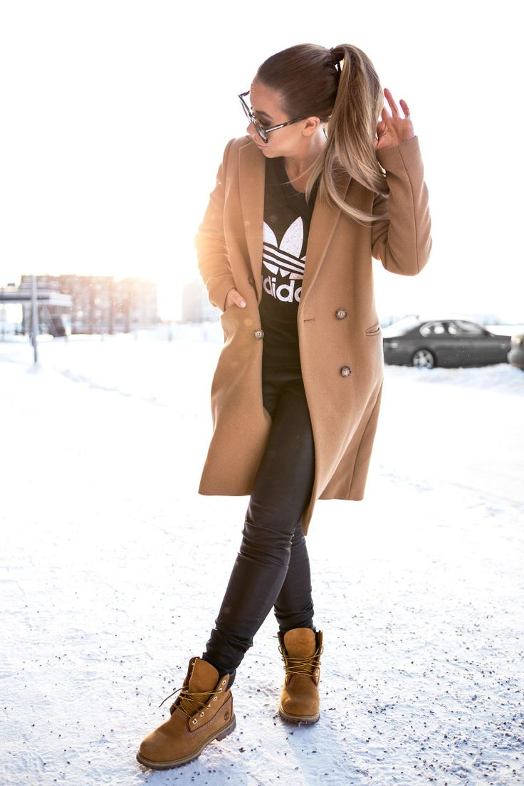 timberland boots styled outfit brown coat sporty