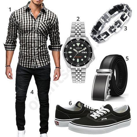 Chic men's outfit with a plaid Merish shirt and black jeans, Seiko Her ...