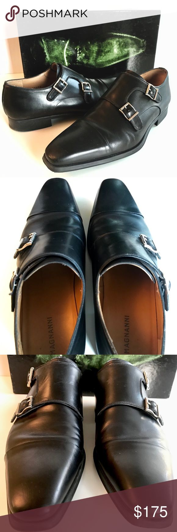 Magnanni Black Double Monk Strap Dress Shoes Men Lightly used   Worn (2x) is my ...