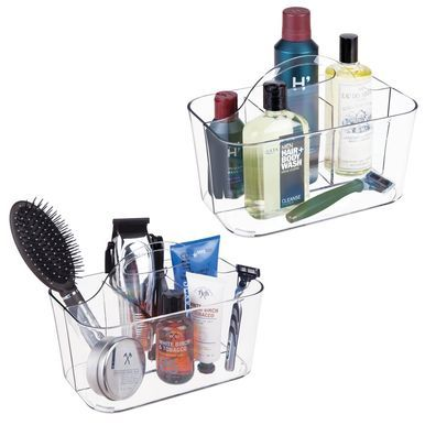"mDesign Small Plastic Men's Grooming Storage Caddy Tote, 6"" x 9.75"" x 6.75"""