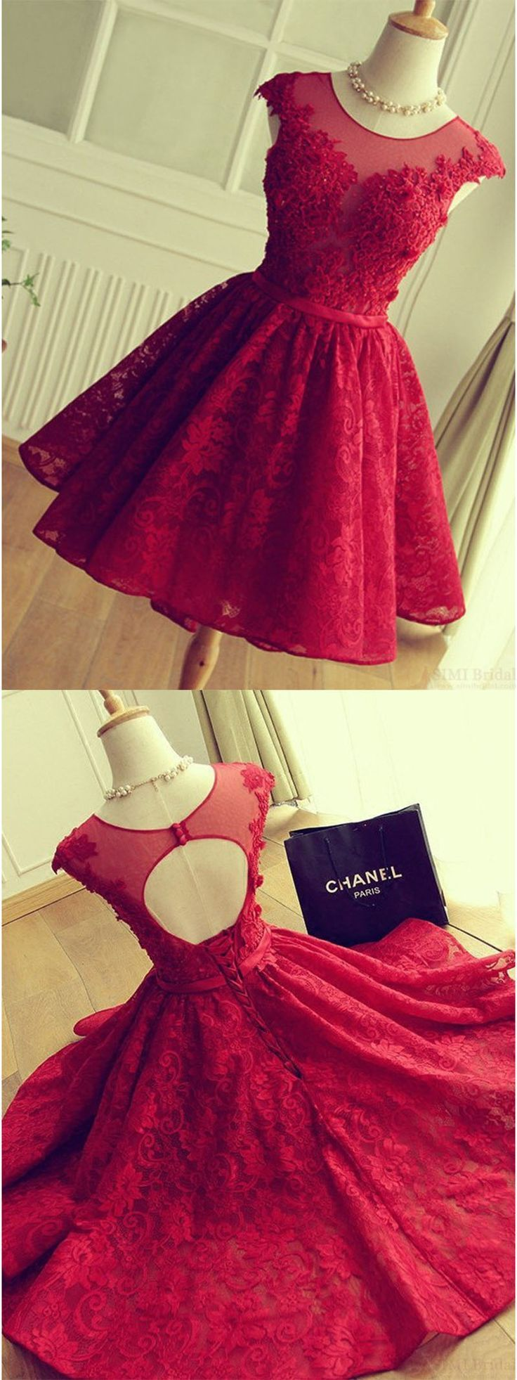 Adorable Knee-Length Red Short Lace Prom Dress Homecoming Dress Women