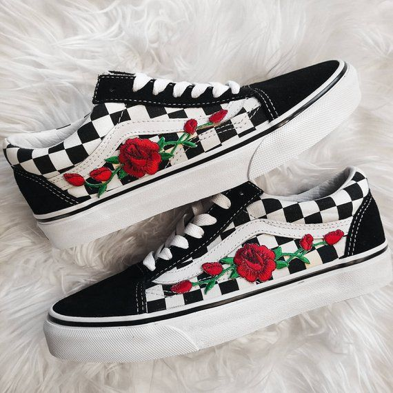 Rose Knospen kariert Unisex Custom Rose bestickt Patch Vans Old-Skool Sneakers H...
