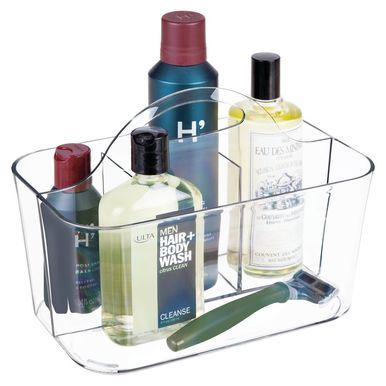 "mDesign Small Plastic Men's Grooming Storage Caddy Tote, Light Gray, 6"" x 9...."