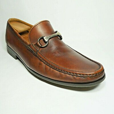 MAGNANNI men 10.5M brown leather horse bit loafer dress casual shoes extra light...