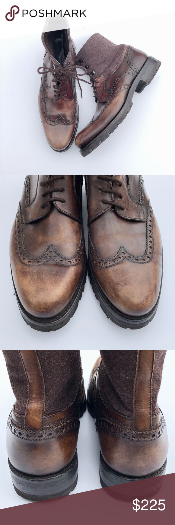 Magnanni Brown Leather Wingtip Ankle Boots 8 Excellent used condition leather an...