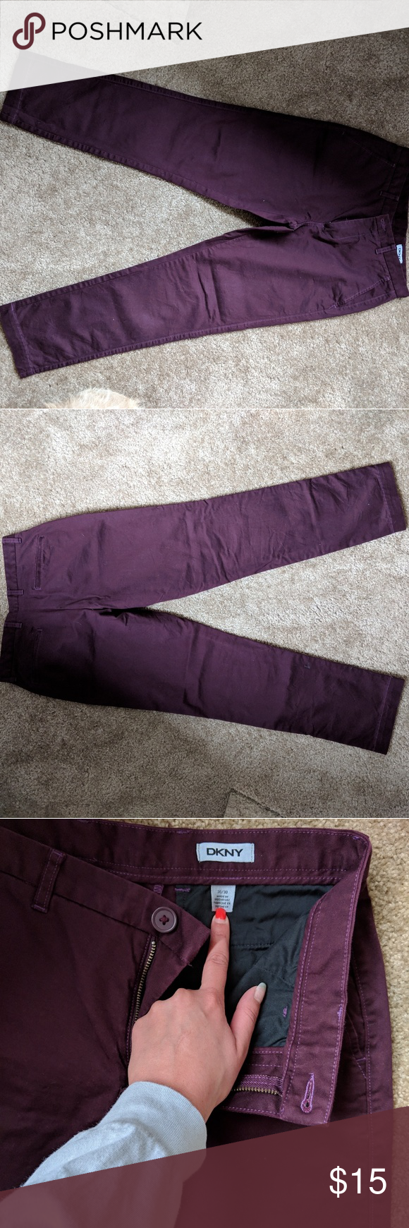 Men's Burgandy Dress pant Great condition. No flaws. Size 30x30. Slim fit. Dkny ...