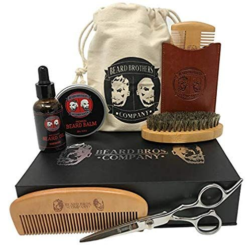 Premium Beard Grooming & Trimming Kit for Men Care – Beard Brush, Beard Comb, Beard Oil, Leave-in Conditioner, Mustache & Beard Balm Butter Wax, Barber Scissors for Styling, Shaping & Growth Gift Set