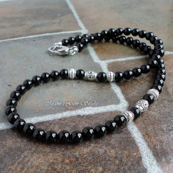 This handsome mens necklace was made with genuine Black Onyx gemstone well-polis...